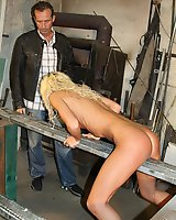 Skinny blonde in whipping fire