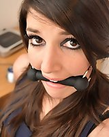 Bound and taped - Sapphire is restrained at the office